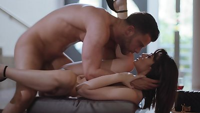 Strong man fucks her tight pussy in merciless ways