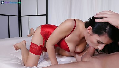 Whore in in flames underclothing is fed with cum after crazy anal pounding scene