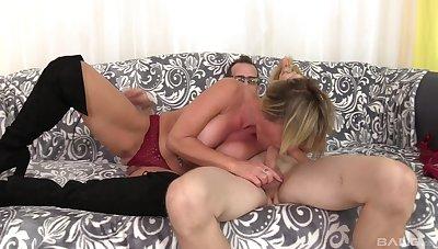 Mature Brandi Fox's big tits will ride his big cock wildly