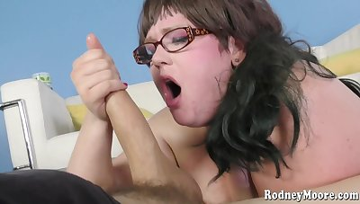 Nerdy hung fucked BBW with small boobs in rub-down the first place rub-down the white sofa