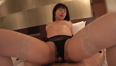 Asian in black lingerie, full pussy and creampie