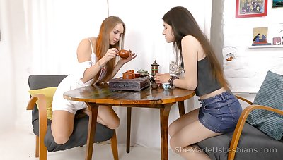 Two best girlfriends are toying every others untidy bald pussies
