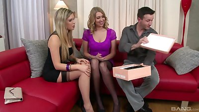 Lucky guy gets his dick pleased by Lexi Lowe and Ava Parker