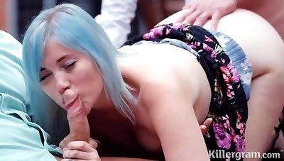 Misha Mayfair is sucking her devoted to lovers dick and getting doublefucked in her huge garden
