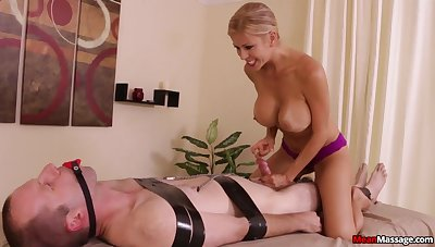 Stacked and slutty masseuse subjects purchaser to bondage and teasing handjob
