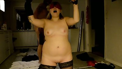 Submissive blonde chubby wife gets her portion of kinky BDSM any more