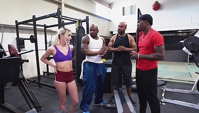 BBC gangbang at the gym with beautiful girl Chloe Temple