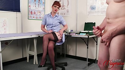 Redhead nurse Zoe Page enjoys watching a naked dude stroking his weasel words