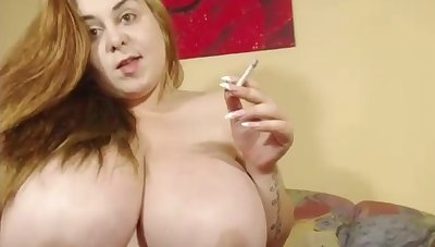 Smoking immense natural chest camgirl