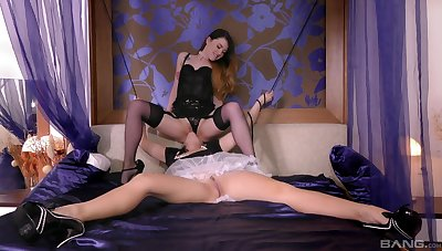 Lesbo maids Mischa Debased plus Dolly Diore play with each understudy