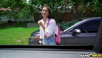 Quickie fucking in the van with small tits amateur Carmen Rae