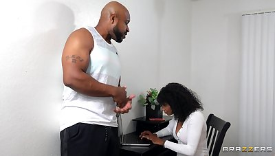 Bearded black guy roughly fucks curly ebony until she swallows