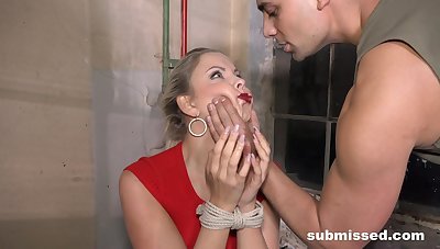 Submissive fair-haired gets the dick more both holes while being destined up