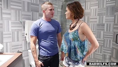 Sexy GF's stepmom Krissy Lynn gives a blowjob in a toilet and offers mortal physically doggy style
