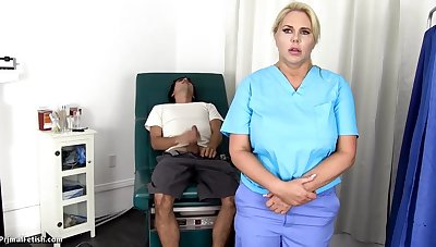 Sensuous, blondie nurse is using every fortuity up get screwed, even if she is at work