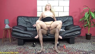 Shaved  pussy 72 adulthood old ugly grandma enjoys will not hear of first big dark-skinned cock interracial porn