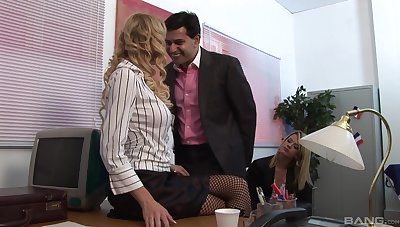 Closeup video of a insulting boss shagging his tie the knot coupled with secretary Antonia